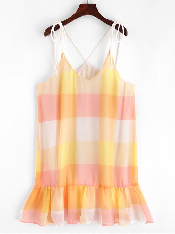 Mini Robe à Carreaux à Bretelle - Multi S