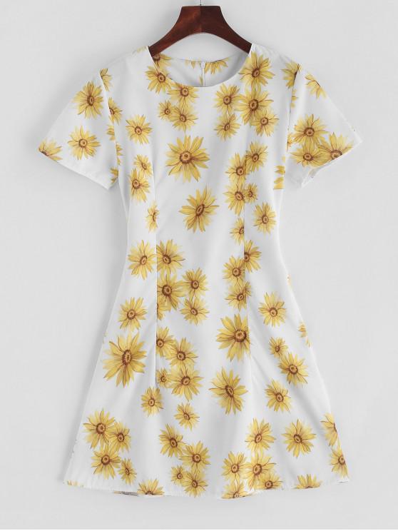 unique Tied Waist Sunflower Mini A Line Dress - MULTI L