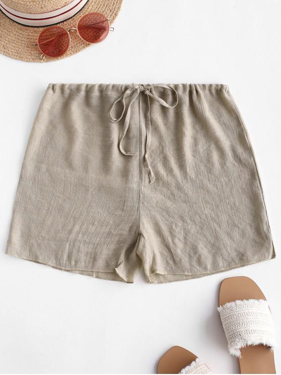 chic Drawstring Semi-sheer Beach Cover Up Shorts - LIGHT KHAKI ONE SIZE