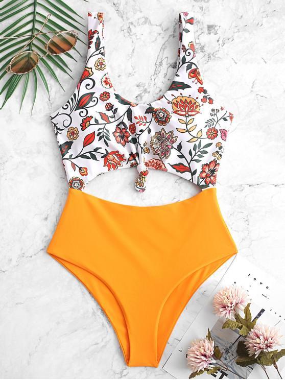 online ZAFUL Bohemian Flower Knotted Monokini Swimsuit - MULTI-A L