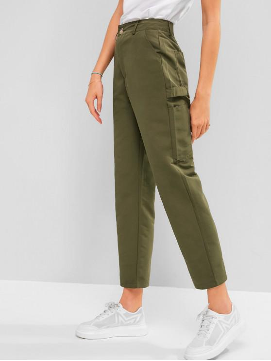 latest High Waist Solid Straight Pants - FERN GREEN L