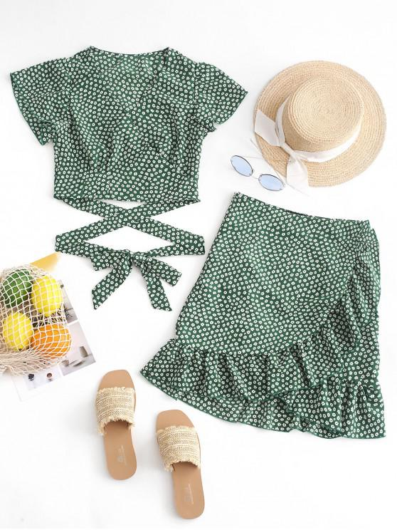trendy Tiny Floral Wrap Top and Ruffle Skirt Set - PINE GREEN S