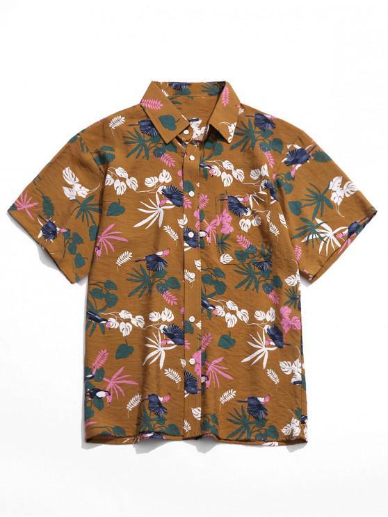 fancy Tropical Plant Bird Print Holiday Beach Shirt - GINGER BROWN 4XL