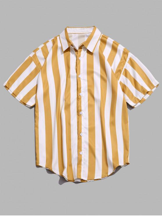 latest Vertical Color Block Stripes Print Shirt - BRIGHT YELLOW M