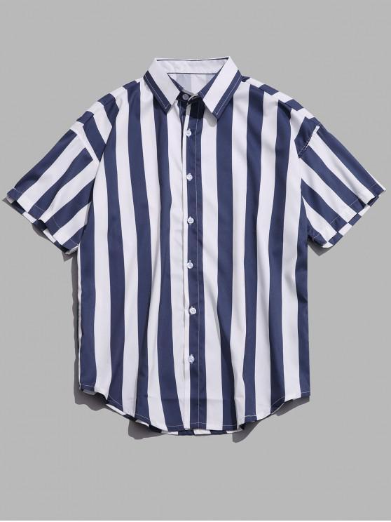 affordable Vertical Color Block Stripes Print Shirt - CADETBLUE L
