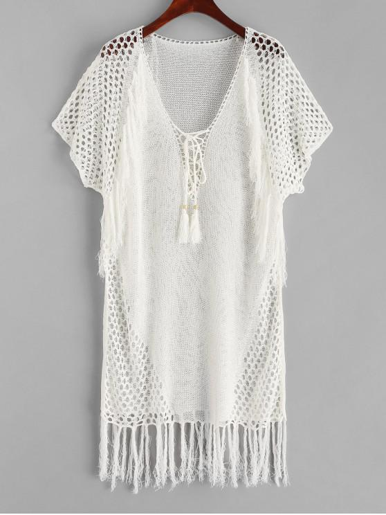 hot Plunge Lace-up Crochet Knit Fringed Cover Up - WHITE ONE SIZE