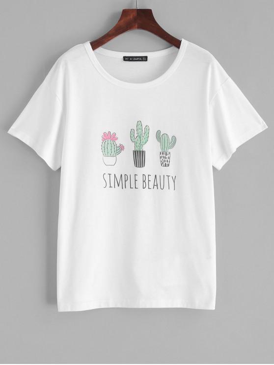 women's ZAFUL Simple Beauty Cactus Graphic Tee - WHITE M
