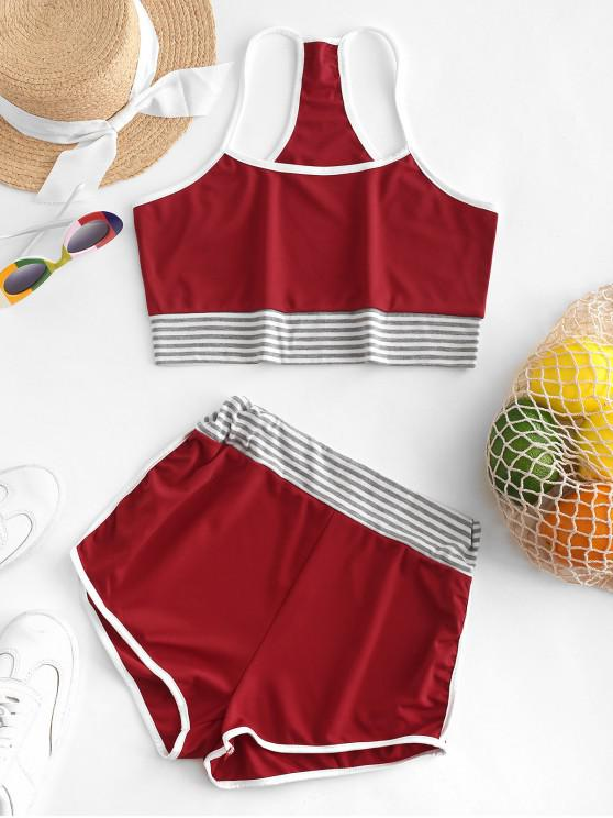 women Striped Crop Cami Top and Ringer Shorts Set - CHESTNUT RED L