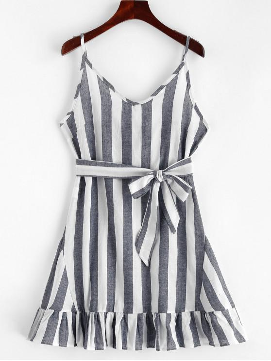 sale Belted Ruffles Stripes Cami Dress - MULTI S