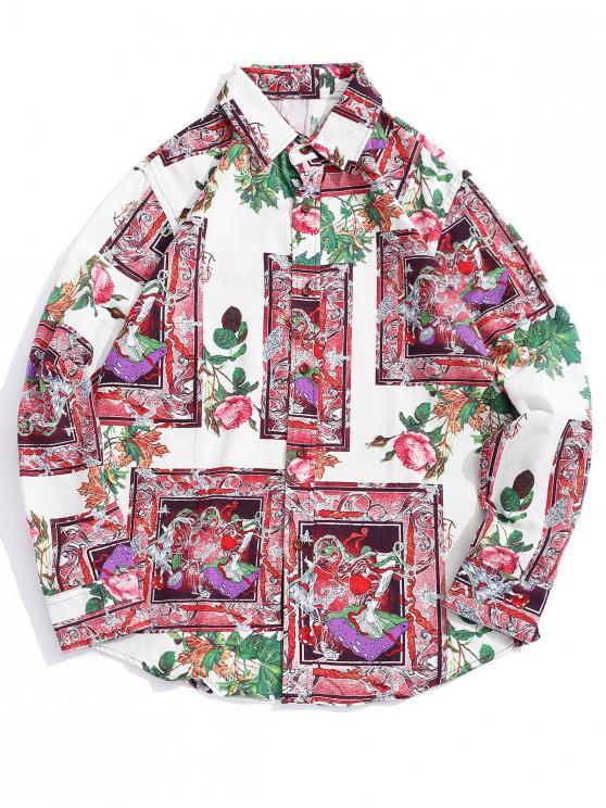 Camicia per orlo curvo con stampa grafica Flower Flower - Multi Colori-B L