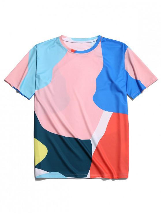 fashion Colorful Painting Print Short Sleeves Tee - MULTI L