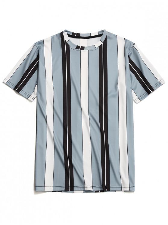 hot Contrast Color Vertical Stripe Print T-shirt - MULTI M