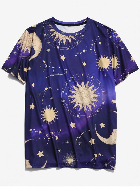 T-shirt Graphique Lune Soleil et Etoile Imprimés - Bleu Cobalt 2XL