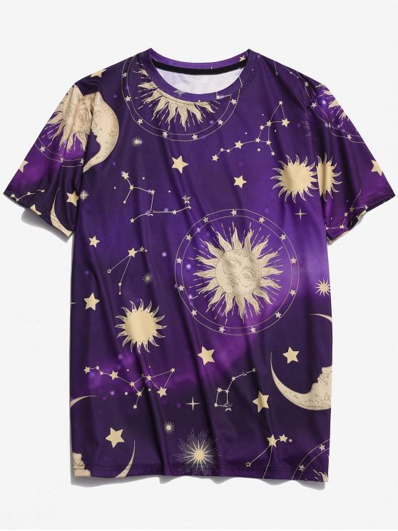 Camiseta estampada con estampado de estrellas y luna de sol. - Orquídea Oscura M