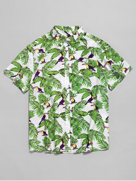 women's Tropical Plant Parrot Print Hawaii Shirt - MULTI XL