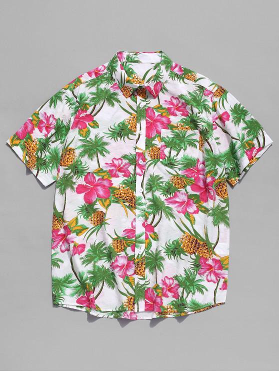 latest Flower Plant and Pineapple Print Beach Shirt - MULTI L