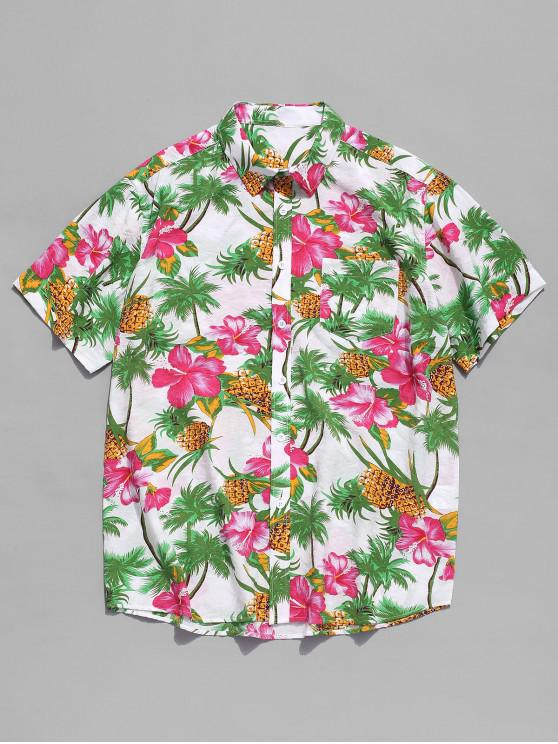 trendy Flower Plant and Pineapple Print Beach Shirt - MULTI XL