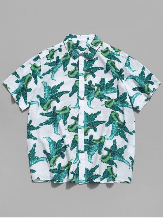 latest Hawaii Tropical Leaf Print Button Shirt - MULTI 2XL
