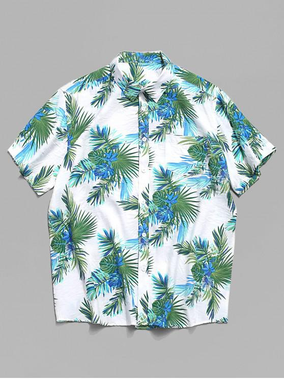 outfits Tropical Plant Print Hawaii Button Shirt - MULTI L