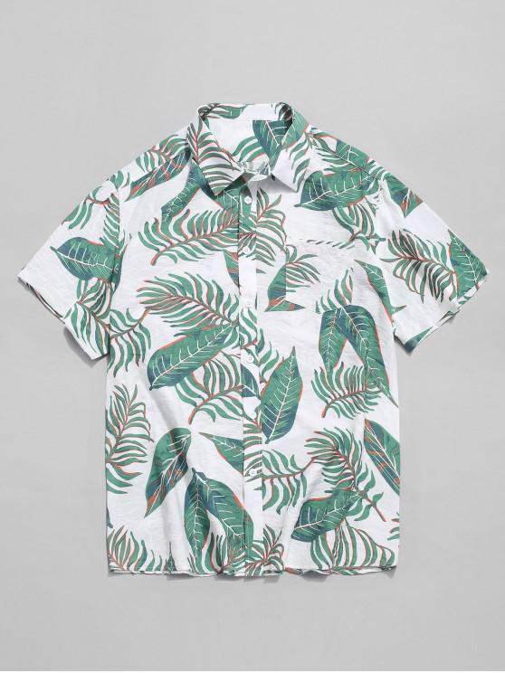 chic Hawaii Tropical Leaf Print Beach Shirt - MULTI S