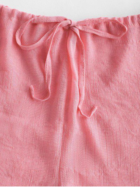 affordable Drawstring Semi-sheer Beach Cover Up Shorts - LIGHT PINK ONE SIZE Mobile
