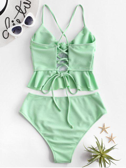 ZAFUL Textured Lace Up Peplum Tankini traje de baño - Verde Menta S Mobile