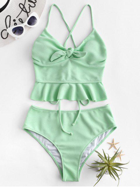 unique ZAFUL Textured Lace Up Peplum Tankini Swimsuit - MINT GREEN L Mobile