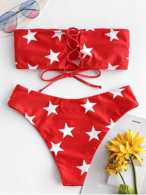 women ZAFUL Star Lace Up Bandeau Bikini Set - MULTI-C M Mobile