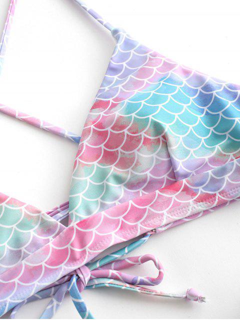 ZAFUL Maillot de Bain Bikini Sirène Ecaille de Poisson à Lacets - Multi-A L Mobile
