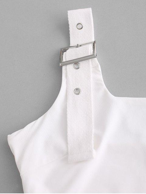 shop Buckle Square Neck Crop Tank Top - WHITE S Mobile