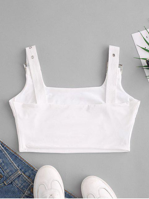 new Buckle Square Neck Crop Tank Top - WHITE M Mobile