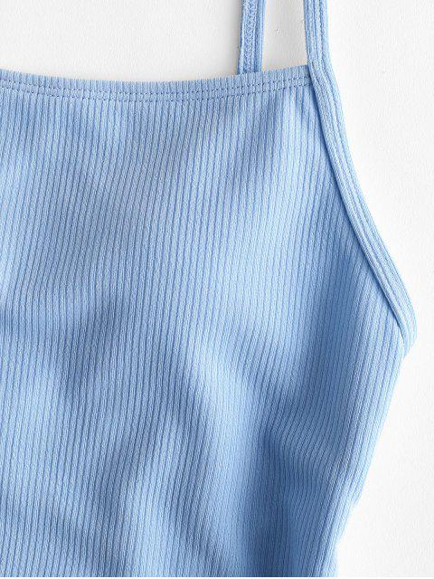 latest ZAFUL Ribbed Lace Up One-piece Swimsuit - DAY SKY BLUE S Mobile