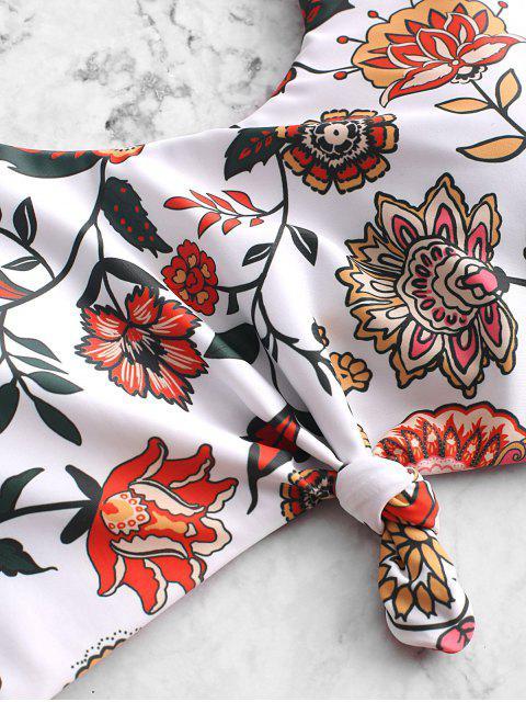 ZAFUL bohemio flor anudada monokini traje de baño - Multicolor-A L Mobile