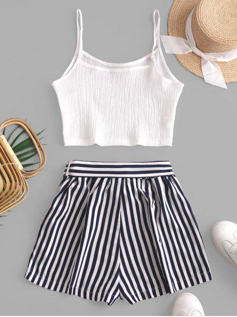 women's Crop Cami Top and Striped Belted Shorts Set - WHITE L Mobile