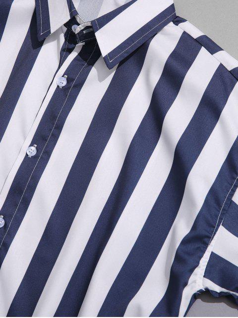 Camisa con estampado de rayas de color vertical - Cadetblue 4XL Mobile