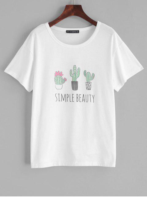 Tee-shirt ZAFUL Simple Beauty Cactus Graphic - Blanc L Mobile