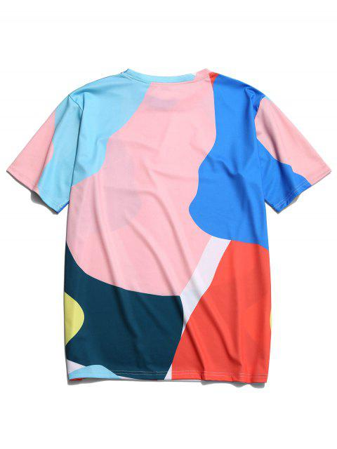 Camiseta de manga corta con estampado de pintura colorida - Multicolor S Mobile