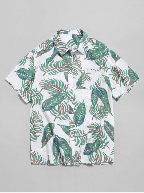 sale Hawaii Tropical Leaf Print Beach Shirt - MULTI XL Mobile