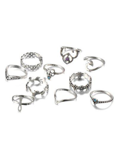 Imagem de 10 PCS Retro Rhinestone Leaf Floral Hollow Out Rings