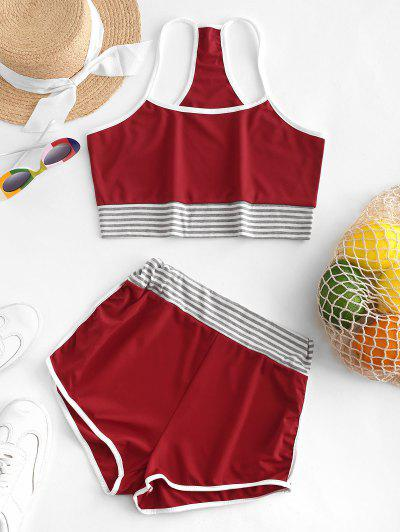 Striped Crop Cami Top and Ringer Shorts Set