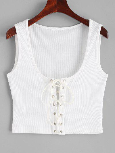 ZAFUL Ribbed Cropped Lace Up Tank Top