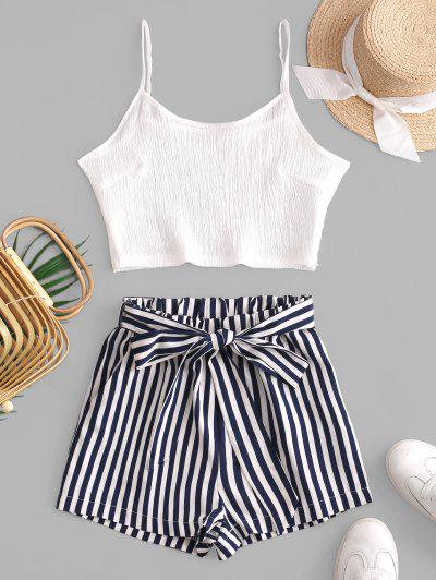 Crop Cami Top And Striped Belted Shorts Set - White M