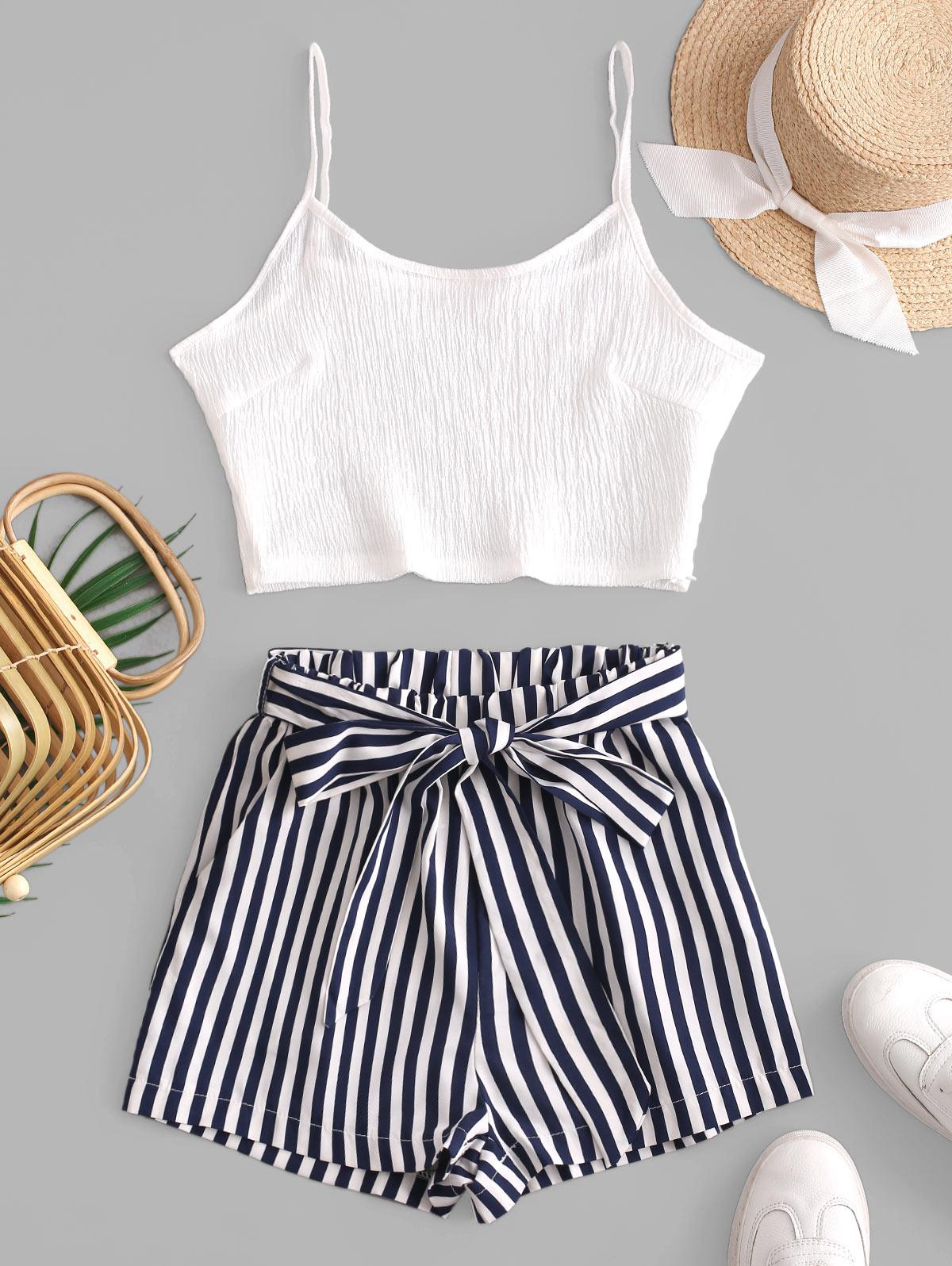 Crop Cami Top and Striped Belted Shorts Set