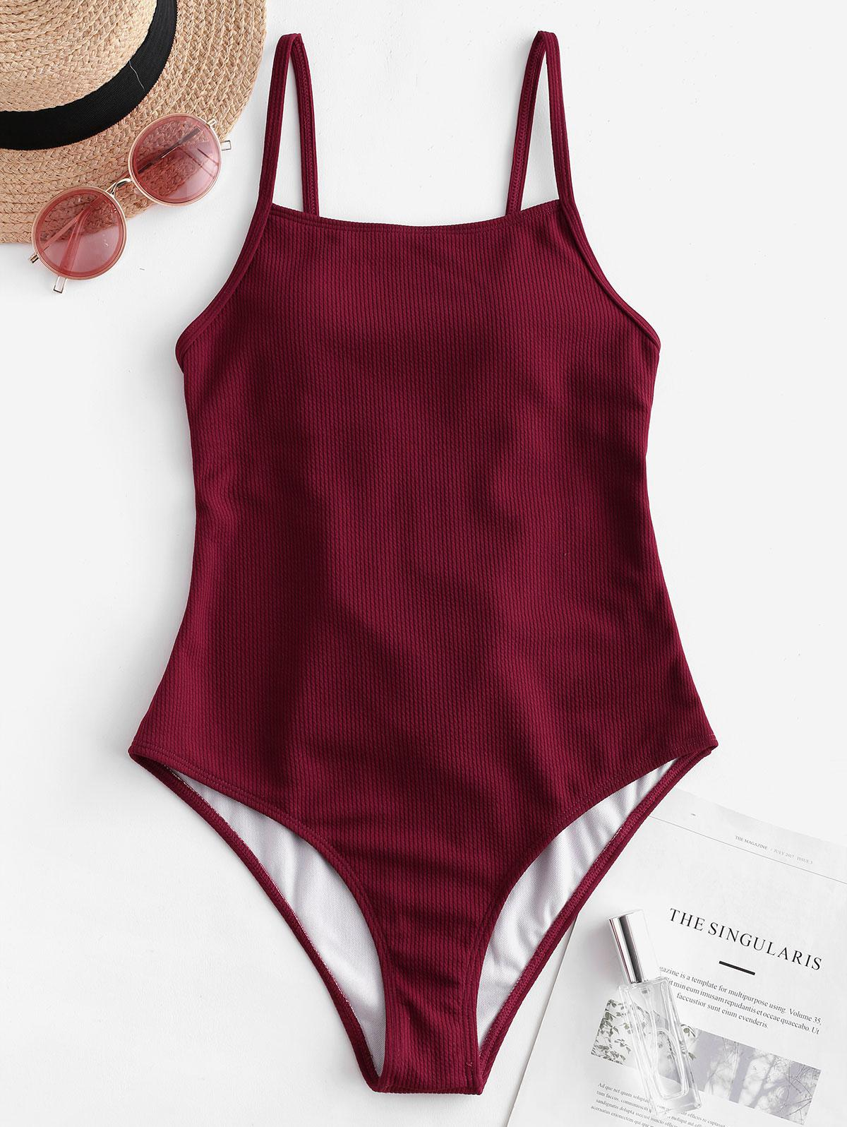 ZAFUL Ribbed Lace Up One-piece Swimsuit thumbnail