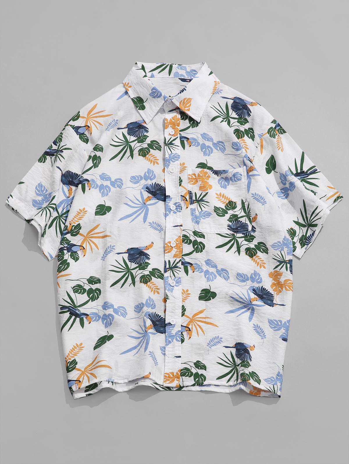 Pianta Tropicale Stampa Uccello Holiday Beach Shirt