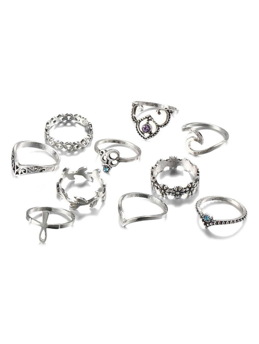 10 PCS Retro Rhinestone Leaf Floral Hollow Out Rings