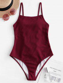 ZAFUL مضلع الدانتيل يصل من قطعة واحدة ملابس السباحة - نبيذ احمر S