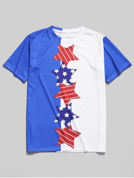 women's Color Block Striped Star Print Short Sleeves T-shirt - MULTI XS
