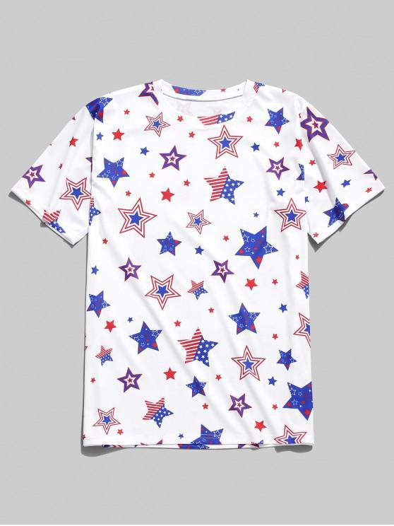 T-shirt Drapeau Américain Etoile Imprimée Partout - Blanc L
