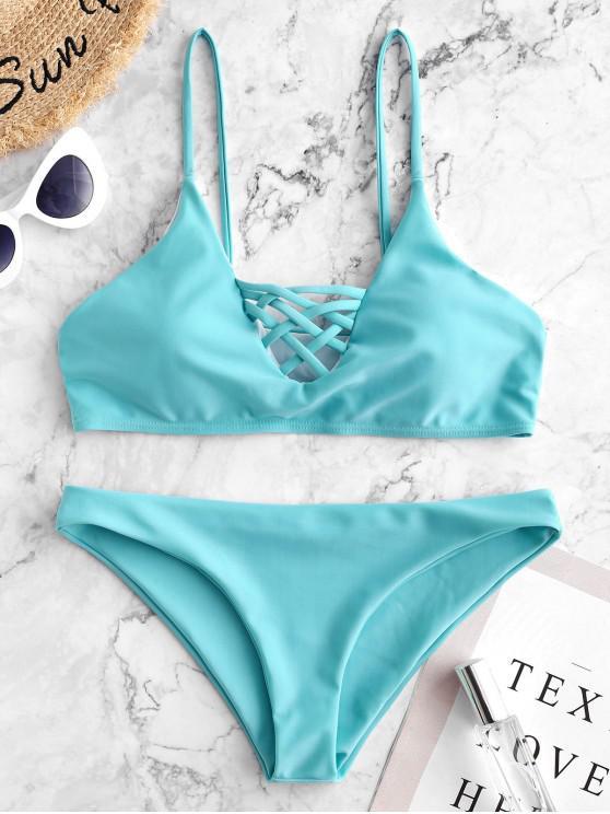 hot Lace Up Bikini Swimwear - LIGHT BLUE S